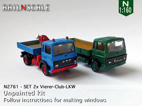 SET 2x Vierer-Club-LKW (N 1:160) in Smooth Fine Detail Plastic