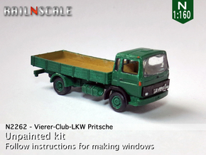 Vierer-Club-LKW Pritsche (N 1:160) in Smooth Fine Detail Plastic