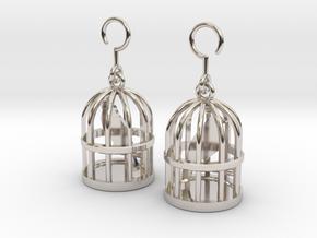 Birdcage Earrings in Platinum