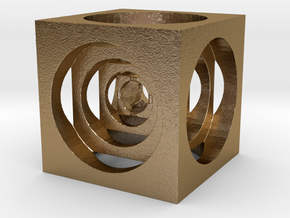AWESOME CUBE in Polished Gold Steel