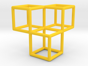 3 Cubes Pendant in Yellow Processed Versatile Plastic
