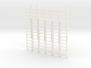 Ladder 02. O Scale (1:43) in White Strong & Flexible Polished