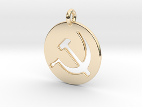 Hammer and Sickle USSR medallion in 14K Yellow Gold