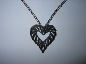 Rib Heart 02 in Black Acrylic