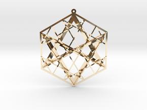 "Hexagrammaton Pendant 3"" in 14k Gold Plated Brass"