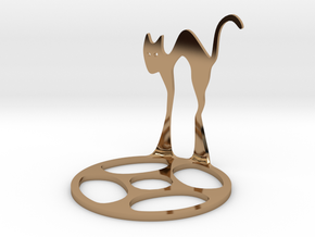 Icelandic Christmas Cat Tealight in Polished Brass