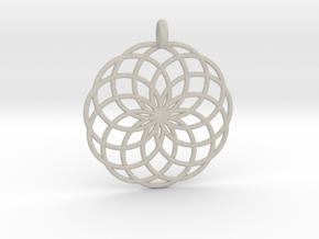 14 Ring Pendant - Flower of Life in Natural Sandstone