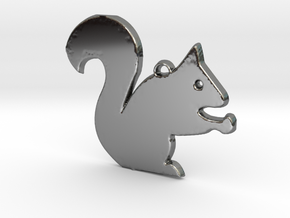 Nutty Squirrel™ Charm in Fine Detail Polished Silver