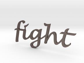 """fight"" Wall Art in Polished Bronzed Silver Steel"