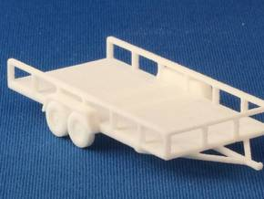 Flat Bed Trailer HO Scale in White Natural Versatile Plastic