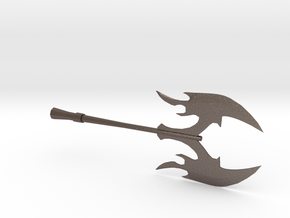 Miniature Battle Axe in Polished Bronzed Silver Steel