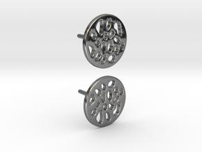 EARRINGS STUD LOBULAR  in Fine Detail Polished Silver
