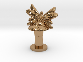 Fairy on Toadstool in Polished Brass