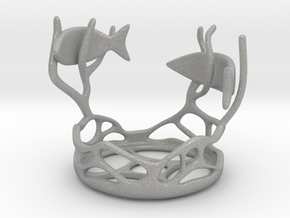Two Fishes Candlestick in Aluminum