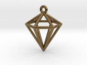 3D Diamond Pendant in Polished Bronze
