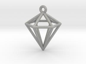 3D Diamond Pendant in Aluminum