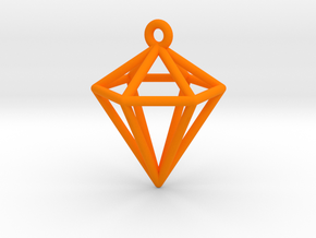 3D Diamond Pendant in Orange Processed Versatile Plastic