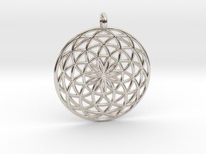 Flower of Life - Pendant 3 in Rhodium Plated Brass