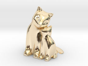 Cuddling Kittens in 14K Yellow Gold