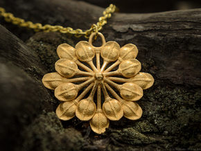 Sun Petals Pendant in Polished Gold Steel