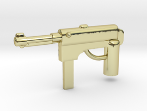 MP40 Minifigure Gun 1.0 in 18k Gold Plated Brass
