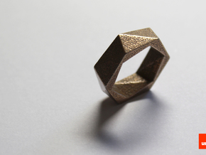 Twist-ring (small) in Polished Bronzed Silver Steel