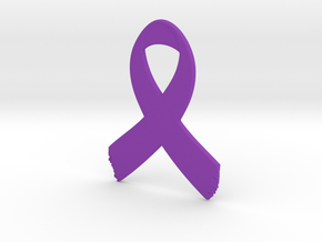 Awareness Ribbon Keychain in Purple Processed Versatile Plastic