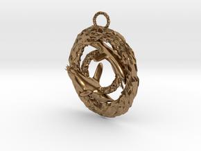 Penguin pendant in Natural Brass