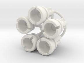 Towball Female Crossaxle 5 Piece Set in White Natural Versatile Plastic