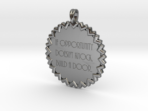 If Opportunity Doesn't Knock | Jewelry Quote in Fine Detail Polished Silver