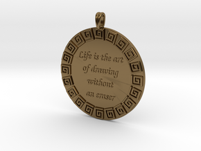 Life Is The Art Of Drawing | Jewelry Quote Pendant in Polished Bronze