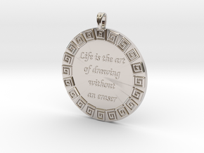 Life Is The Art Of Drawing | Jewelry Quote Pendant in Rhodium Plated Brass