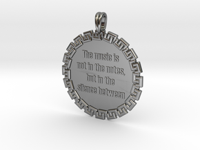 The Music Is Not In The | Jewelry Quote Necklace in Fine Detail Polished Silver