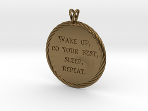 Wake Up | Jewelry Quote Necklace. in Polished Bronze