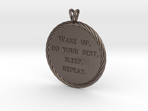 Wake Up   Jewelry Quote Necklace. in Polished Bronzed Silver Steel