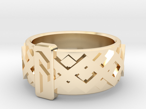 Norse Ansuz Ring in 14k Gold Plated Brass