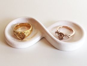 Couple's Infinity Symbol Ring Dish in Gloss White Porcelain