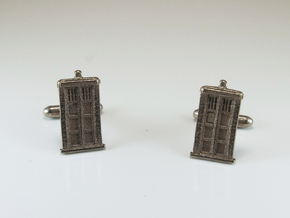 Doctor Who: TARDIS Cufflinks   in Polished Bronzed Silver Steel