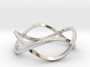 Size 7 Infinity Twist Ring in Rhodium Plated Brass