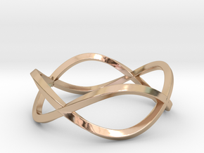 Size 8 Infinity Twist Ring in 14k Rose Gold Plated Brass