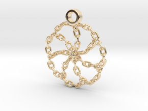 Chain Link Pendant in 14k Gold Plated Brass