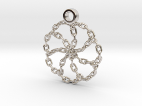 Chain Link Pendant in Rhodium Plated Brass