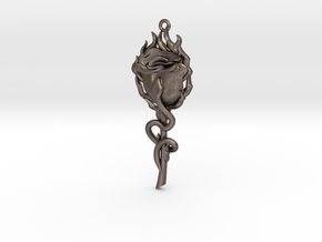 Rose and Snake in Polished Bronzed Silver Steel