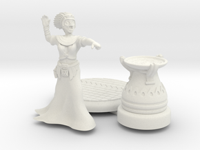 28mm Cleopatra Zombie Witch with base and Cauldron in White Natural Versatile Plastic