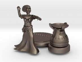 28mm Cleopatra Zombie Witch with base and Cauldron in Polished Bronzed Silver Steel
