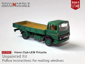 Club-of-4 Flat bed (British N 1:148) in Smooth Fine Detail Plastic