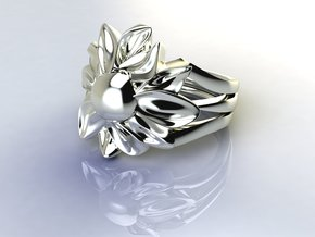 Flower of Love in Fine Detail Polished Silver