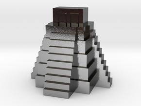 Ziggurat, Mayan Temple in Polished Silver