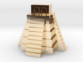 Ziggurat, Mayan Temple in 14k Gold Plated Brass