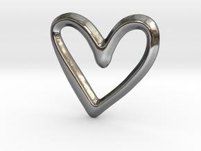 Open Heart Pendant/Charm - 16mm in Fine Detail Polished Silver